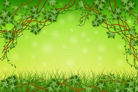 Grüner Hintergrund mit tropischen Reben und Gras, exotischen Pflanzen und Blättern. Flora-Regenwald mit Reben. Grüne flache Vektorgrafik und Hintergrund im Dschungelstil, Vektorgrafik