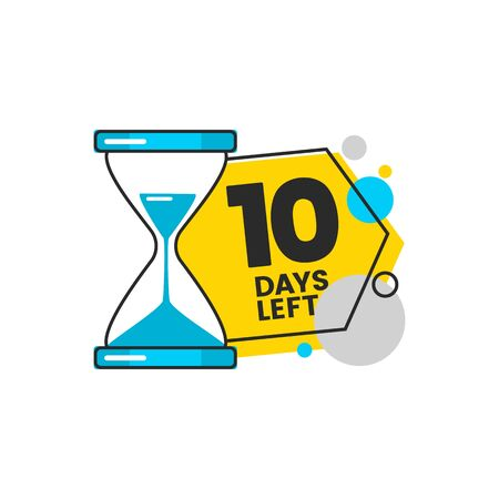 Ten - 10 days left countdown banner design with a sand timer hourglass for sale and retail in blue and yellow colors cartoon vector illustration isolated on white background.