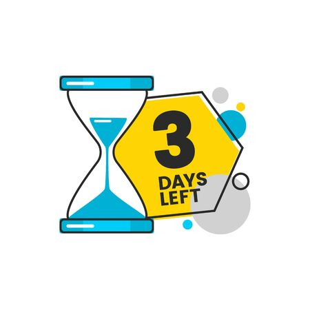 Three days left sale countdown banner with a sand timer hourglass and digit 3 for flyers and apps design cartoon vector illustration isolated on white background.