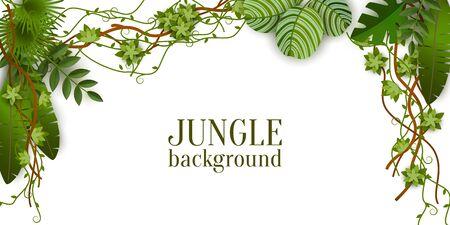 Grüner Dschungelpflanzenhintergrund, der von oben hängt, tropische exotische Palmblätter und Lianenzweige - isolierte Textvorlage mit Leerzeichen - realistische Grenzvektorillustration Vektorgrafik