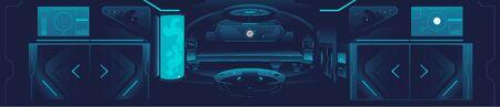 Bannière de vaisseau spatial - intérieur bleu foncé de la station spatiale avec technologie et mobilier futuristes, vue de la salle du cockpit du vaisseau spatial - illustration vectorielle dessinée à la main
