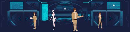 L'intérieur du vaisseau spatial avec l'équipage, les hommes, les femmes et les extraterrestres. Vaisseau spatial futuriste avec un intérieur. Illustration vectorielle de dessin animé sur fond bleu.