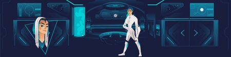 The interior of the spaceship with a futuristic girl or a woman from the crew, the ship of the future. Cartoon vector illustration of a girl and the interior of the spaceship on a blue background.