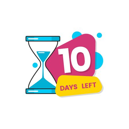 10 days left - colorful geometric countdown sticker with number ten, hourglass icon and fluid geometric shapes, flat cartoon badge for sale or limited offer expiration, vector illustration Illustration