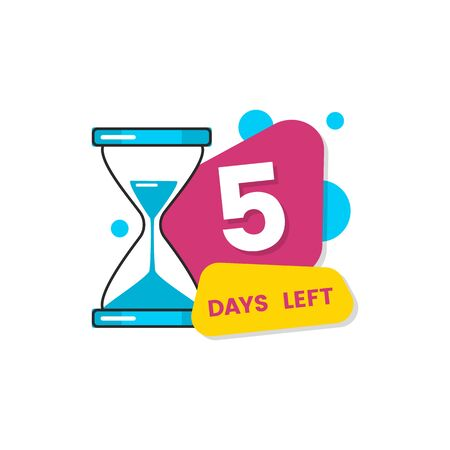 Autocollant plat isolé de 5 jours restant pour la date d'expiration de l'offre limitée, formes géométriques colorées avec icône de sablier et numéro cinq - illustration vectorielle