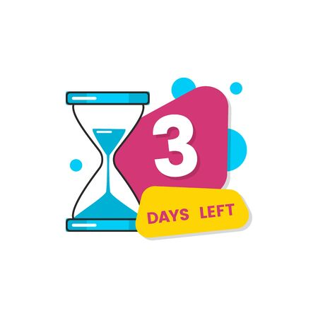 Colorful 3 days left sticker with flat geometric shapes and hourglass clock. Isolated vector illustration with countdown number for limited sale announcement