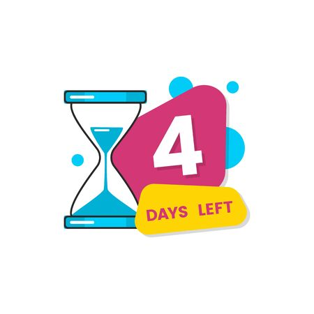 4 days left stamp for business sales displaying four days time counter the vector illustration isolated on white background. Discount and special offers date badge. Illustration