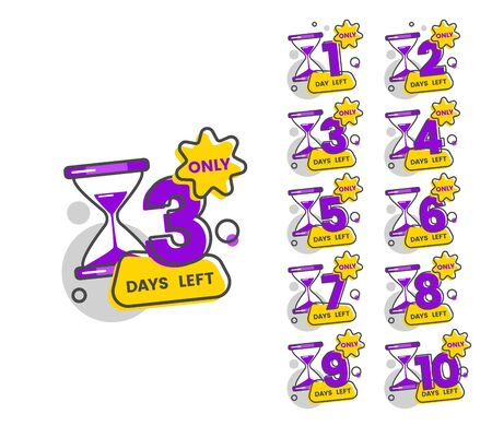 Only 3 days left - set of numbers from 1 to 10 in countdown sticker pack with hourglass icon and colorful geometric shapes, flat cartoon badge stamps vector illustration Banque d'images - 128947774