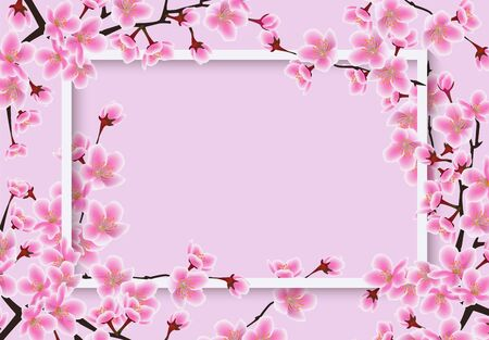 Horizontal frame overgrown sakura or cherry tree with blossom flowers banner vector illustration in pink colors. Template for greeting cards and seasonal invitations. 向量圖像