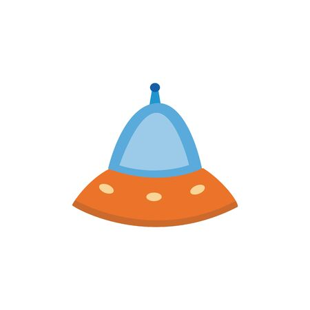 Fantasy cartoon cosmic aliens spaceship or flying saucer flat vector illustration isolated on white background. Childish space travelers ship colorful icon design.