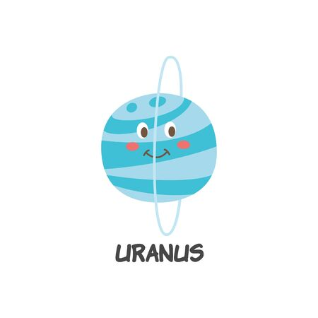 Blue icon of Uranus a planet of solar system with funny cartoon human face and orbit rings flat vector illustration isolated on white background. Space symbol for children.