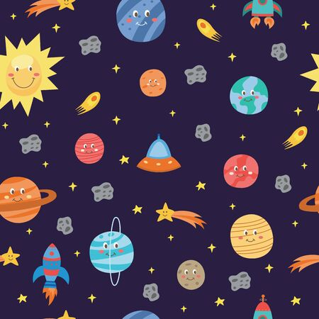 Colorful space seamless pattern with planets, comets and rockets flat vector illustration. Night sky hand drawn doodle astronomical background or endless texture.