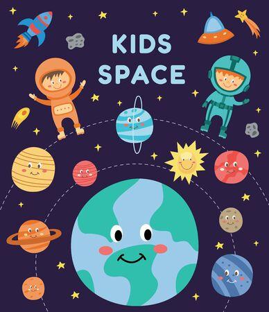 Enfants dans l'espace - enfants astronautes de dessin animé mignon en costume volant parmi des planètes souriantes et une fusée dans le ciel nocturne, garçon et fille heureux en carte d'astronomie - illustration vectorielle dessinée à la main à plat Vecteurs