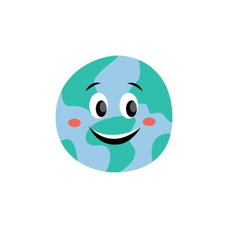 Fun and cute planet of the solar system Earth with eyes and face smiling, isolated illustration in flat cartoon style.