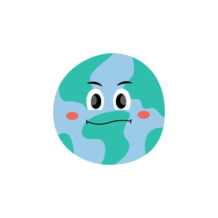 Unhappy dissatisfied emotion of Earth planet character vector flat style illustration isolated on white background. Safety environment and Earth day concept cartoon icon.