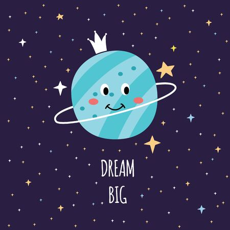 Rêvez grand - carte d'espace de dessin animé avec Saturne souriant mignon dans le ciel nocturne regardant autour des étoiles, conception de planète cosmos galaxie pour livre d'éducation pour enfants - illustration vectorielle à plat dessinés à la main