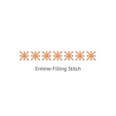 Seamless ermine-filling sewing machine or hand decorative stitch brush vector illustration isolated on white background. Endless ornament for border or page divider.