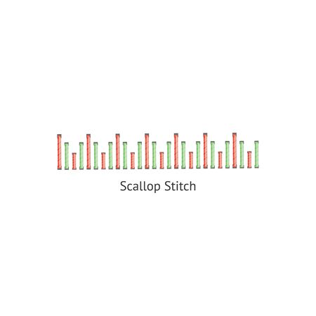 Scallop sewing decorative embellishment stitch seamless brush vector illustration isolated on white background. Endless colorful design for border or page decoration. Vector Illustration