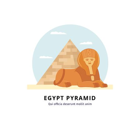 Egypt pyramid with sphinx - landmark of Giza travel and tourism destination in desert. Isolated drawing in flat cartoon style - vector illustration 일러스트