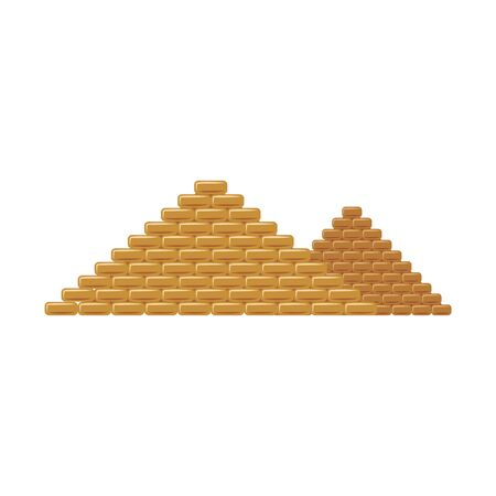 Egypt pyramids the famous tourists historical landmark flat vector illustration isolated on white background. Egyptian pharaoh tombs ancient architecture symbol or icon.