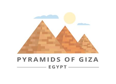 Pyramids of Giza tourists banner or flyer template vector illustration isolated on white background. Egyptian historical landmark of ancient architecture element. 일러스트