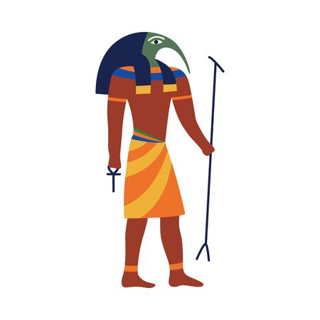 Icon of Anubis - ancient God of Egypt with jackal head in traditional clothes with scepter and Ankh cross in hands flat vector illustration isolated on white background. Illustration