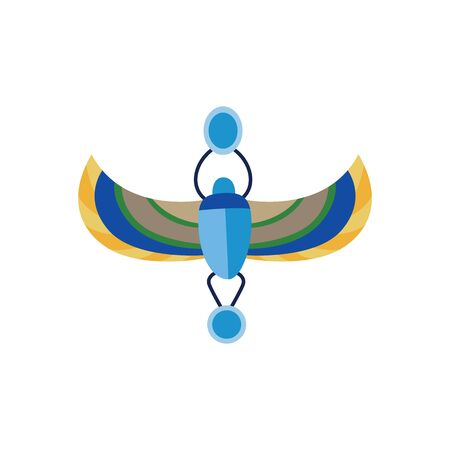 Scarab an ancient Egypt symbol in lazur blue and gold colors flat vector illustration isolated on white background. Egyptian religious ancient bug or beetle sign.