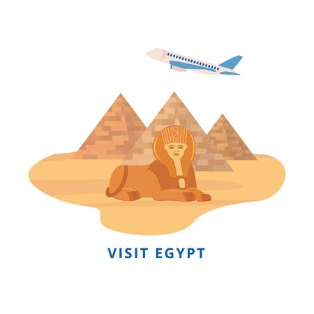 Visit Egypt - tourism banner sticker with landmark travel destination of Giza pyramids and Sphinx and airplane in flat cartoon style, isolated vector illustration on white background