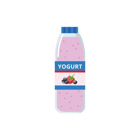 Berry yogurt in a plastic bottle, yogurt icon for grocery store and supermarket, isolated vector flat illustration.