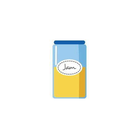 Half full jar of yellow jam in flat cartoon style, blue glass or plastic container with sweet dessert food isolated on white background. Homemade marmalade with round label vector illustration.