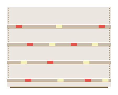 Winkel witte lege planken platte cartoon vectorillustratie geïsoleerd op een witte achtergrond. Kruidenierswinkel of supermarktuitrusting zonder producten het interieurelement. Vector Illustratie