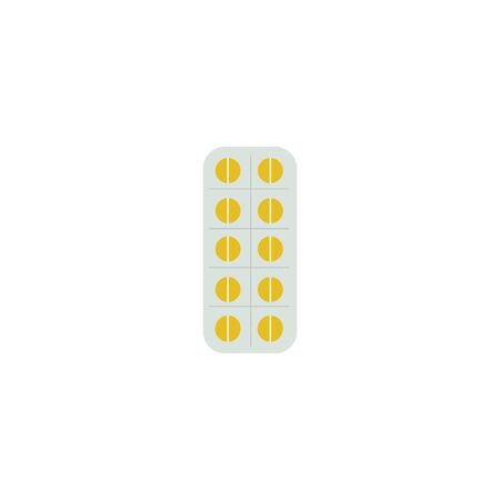 Package or blister of medical tablets and pills. Package of pills and pills at the pharmacy for health care. Isolated flat vector illustration on white background.