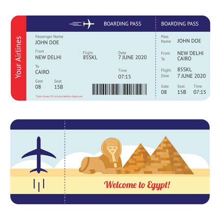 Plane ticket to Egypt - tourism destination travel boarding pass mockup with flight information and Giza pyramid and sphinx drawing, isolated flat cartoon vector illustration on white background Archivio Fotografico - 128947839