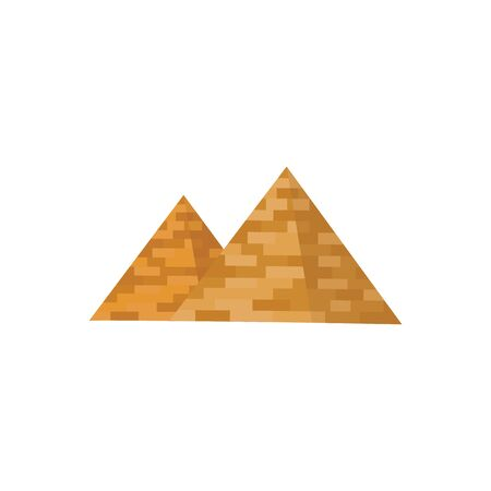 Egyptian pyramids icon, historical and tourist concept of Egypt. The architecture of the ancient pyramids and tombs of Pharaoh. Isolated vector flat illustration. Çizim