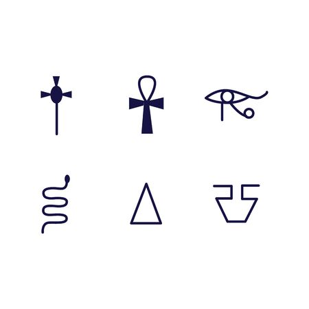 Egypt religion ancient historical symbols set of black line vector icon illustrations isolated on white background. Egyptian culture traditional hieroglyphs and signs.