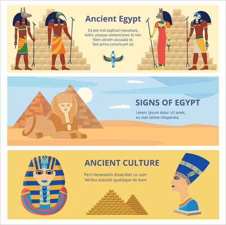 Ancient Egypt culture set of three horizontal banners or flyers with history and religion symbols vector illustrations. Egyptian gods, queen Nefertiti and pyramids.