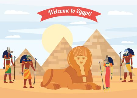Welcome to Egypt tourists banner or flyer design template with pyramids and ancient egyptian gods vector illustration. Historical travel and tourism concept background.