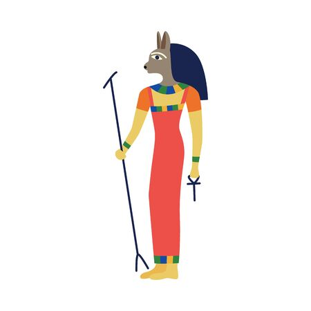 Icon of the ancient Egyptian goddess Bast. The goddess of Egypt, Bast with the head of a cat. Isolated vector flat illustration.