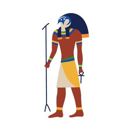 Ikone des alten ägyptischen Gottes Horus oder Ra. Ägyptischer Gott Gore oder Ra mit einem Falkenkopf, isolierte flache Vektorgrafik.
