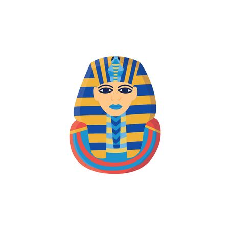 Icon of the ancient golden head of pharaoh and king Egypt Tutankhamen, isolated vector flat illustration.