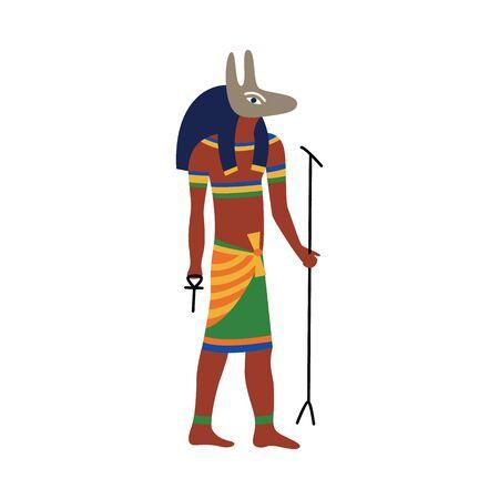 Dio dell'antico Egitto Anubi, disegno del fumetto del simbolo di sepoltura del faraone egiziano dell'uomo con la testa canina in abiti tradizionali, carattere di storia della vecchia cultura - illustrazione vettoriale piatto isolato Vettoriali