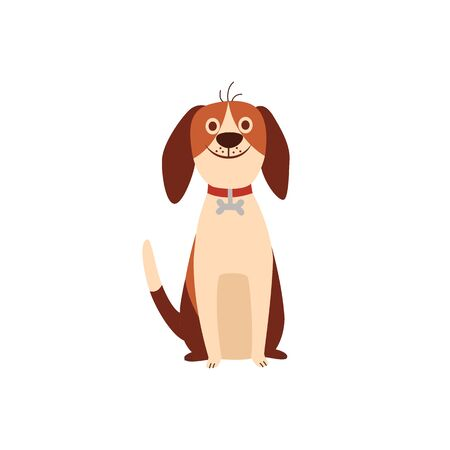 Cute beagle dog or puppy sitting a humor flat cartoon vector illustration isolated on white background. Funny animal pet character for prints and children items design.