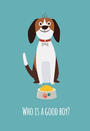 Cute beagle dog card with food bowl and text Who is a good boy. Happy cartoon pet animal sitting on the floor about to eat as reward for obedience, isolated flat vector illustration