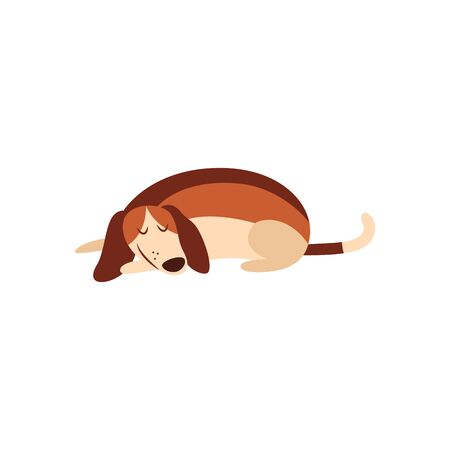 Cute beagle dog sleeping on the floor, isolated cartoon pet animal with eyes closed and smile taking a nap, simple hand drawn vector illustration on white background