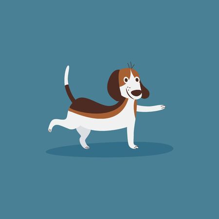 Funny beagle dog doing sport exercise lifting a paw the cartoon flat vector illustration isolated on blue background. Puppy pet for prints on childrens t-shirts and items. Ilustracja