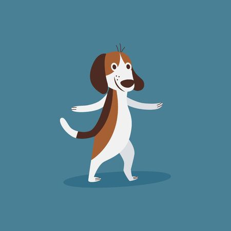 Funny beagle dog doing sport exercise the cartoon flat vector illustration isolated on blue background. Active puppy pet for prints on childrens t-shirts and items. Ilustracja