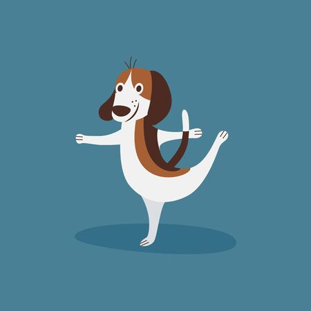 Funny beagle doing ballet, happy dancing puppy dog doing a ballerina pose isolated on blue background, cute cartoon animal - flat hand drawn vector illustration