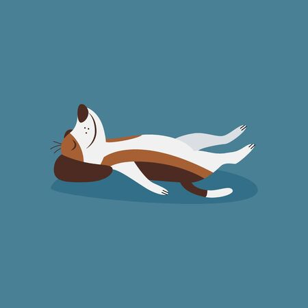 Funny beagle dog laying in cozy relaxation yoga pose the cartoon flat vector illustration isolated on blue background. Puppy pet for prints on t-shirts and sport topic.