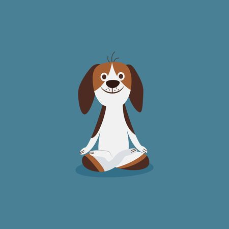 Funny beagle dog sitting in cozy relaxation yoga lotus pose the cartoon flat vector illustration isolated on blue background. Puppy pet for t-shirts and sport topic.