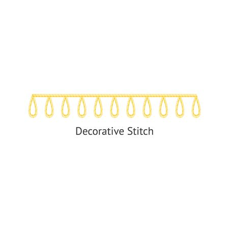 Sewing or embroidery decorative stitch seamless brush vector illustration isolated on white background. Endless fashion craft ornament design for borders and frames.